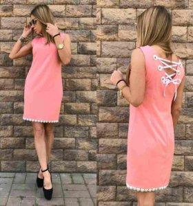 Платье женское розовое с завязками на спине.