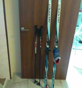 Лыжи детские (160см)+ботинки (р35)
