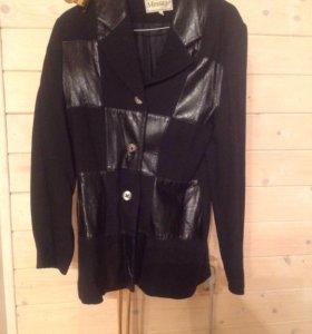 Пиджак с отделкой из натуральной кожей