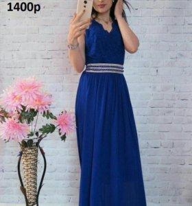 платье синие в пол новое
