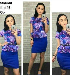 платье синие с баской новое
