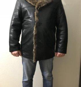Куртка кожаная на натуральной цигейке-новая