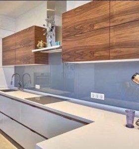 Кухня лофт из шпона и эмали