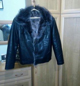 Куртка мужская эко/кожа мех натуральный 54 размер