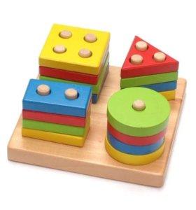 Пирамидка деревянная игрушка