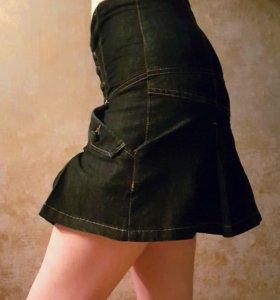 Юбка джинсовая темно синяя