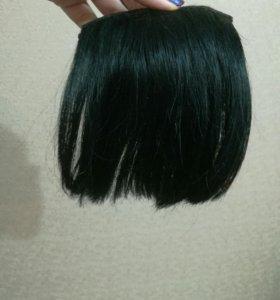 Чёлочка чёрная из натуральных волос