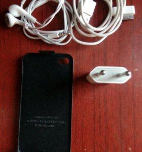 Айфон 4/4s.чехол.зарядка.наушники