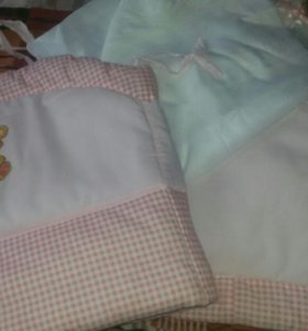 Бортики в кроватку +балдахин