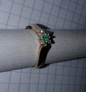 Золото кольцо натур.камни