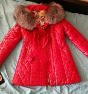 Кожаная зимняя куртка, НОВАЯ