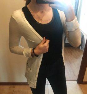 Белый кардиган, пуловер, длинная кофта