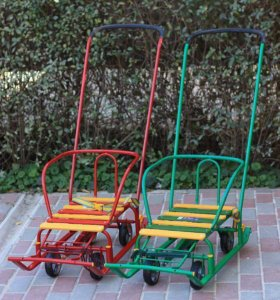 Новые санки с выдвижными колёсами