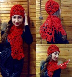 Шапка+воротник- шарф, ручная работа