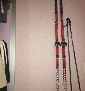 Лыжи. Ботинки для лыж. Чехол для лыж. Палки.