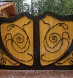 Ворота с элементами худ. ковки.