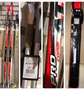 Лыжи +палки+ботинки Salamon
