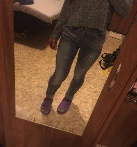 Облегающие джинсы со стразами