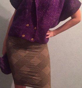 Фиолетовый  шерстяной свитер, жилетка вязанная