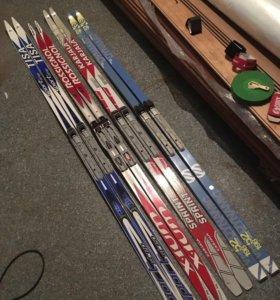 Беговые лыжи 2 пары с креплениями NNN