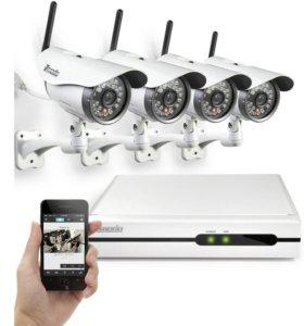 комплект IP видеонаблюдения на 4 Wi-Fi HD камеры