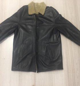 Зимняя мужская кожаная куртка-дубленка