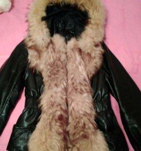 Натуральная демисизонная кожанная куртка с мехом