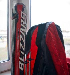 Горные лыжи Blizzard 160, палки Salomon 120 см