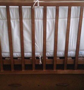 Детская кроватка+матрац+бортики!!!