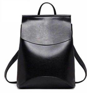 Рюкзак женский кожаный чёрный