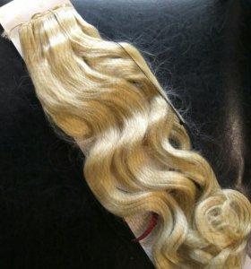 Термо волосы на заколках блонд 60 70 см