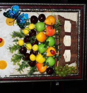 Обьемные панно из фруктов