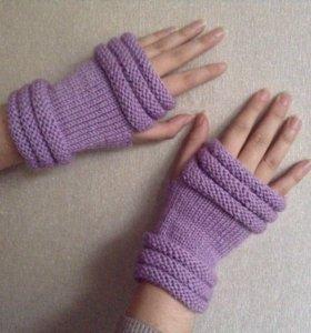 Фиолетово-розовые митенки (перчатки без пальцев)