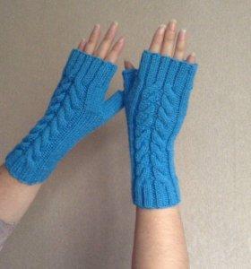 Новые тёплые митенки (перчатки без пальцев)