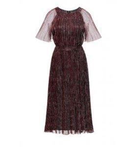 Длинное гофрированное платье, цвет графитовый