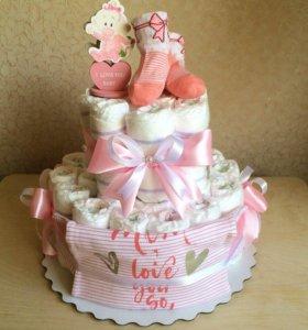 Торт из памперсов для новорождённого на выписку