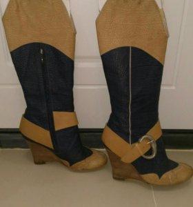 Сапоги кожаные, 38 размер.