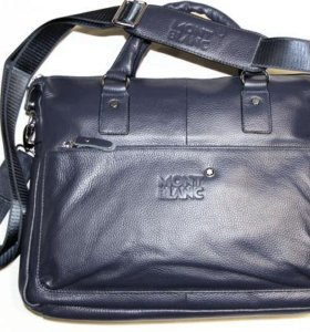 Мужская кожаная сумка Montblanc blue новая