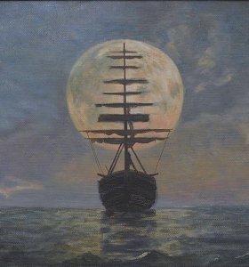 "Картина маслом, живопись ""Парусник при луне"" автор"