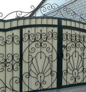 Ворота закрытые, кованые