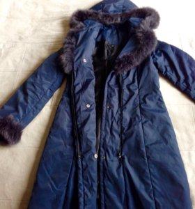 Пальто куртка пуховик на синтепоне 44/46 размер