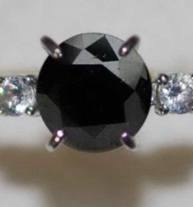 Кольцо с черным бриллиантом в 1.3 карата!!!