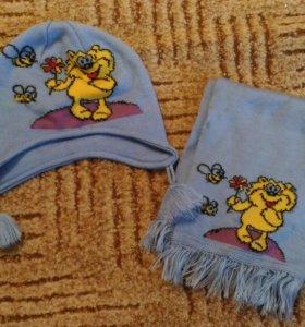 Комплект шапка и шарф осенние, вязаные