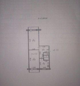 Квартира, 2 комнаты, 53.6 м²