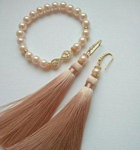 Серьги-кисти и браслет/комплект