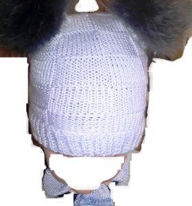 Шарф и шапка с помпонами из натур.меха, детский.