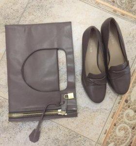Сумка клатч и туфли.