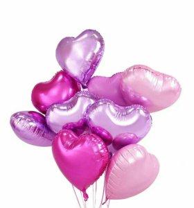 """Фольгированные шары с гелием !""""сердца"""""""