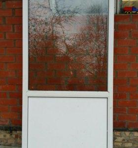 Окна 2шт б у  800×2300 глухие однокамерный