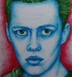 Портрет цветными ручками